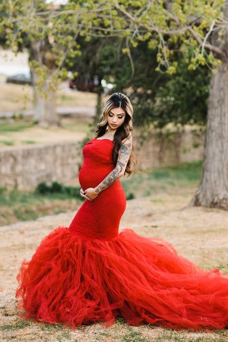 Red Pregnant Sweetheart Lace Fit And Flare Tulle Wedding Dress