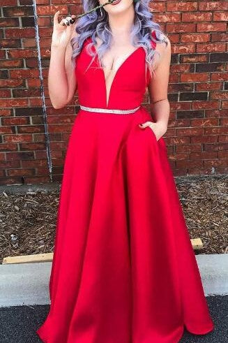 Red Satin Plunging V-Neck A-Line Floor-Length Formal Dress With Pockets