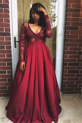 Red Sheer Lace Long Sleeves Deep V Neck A-line Evening Prom Gown