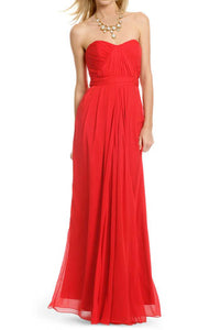 Red Strapless Pleated Sweetheart Neckline A-Line Floor Length Bridesmaid Dress