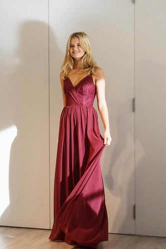 Red-Wine Column Comfortable Floor-Length Long Dress With Surplice V-Neckline