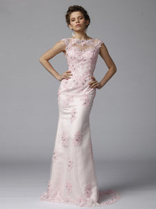 Romantic Soft Sheer-Illusion Pink Lace Appliqued Flattering Long Dress