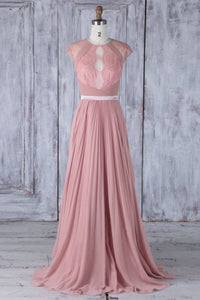 Round Neck Cap Sleeve Pink Chiffon Sweep Train Bridesmaid Dress With Lace Illusion Bodice