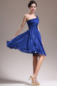 Royal-Blue Fit-And-Flare Single-Shoulder Knee-Length Chiffon Dress With Eye-Catching Bead-Work