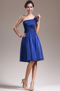 Royal Blue Ruched Knee-Length Chiffon Short Dress With Beaded Strap