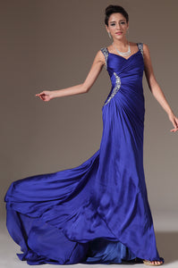 Royal Blue Ruched Satin Surplice Prom Dress With Beaded Straps