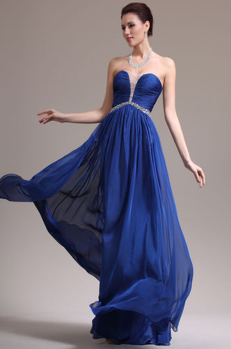 Royal-Blue Ruched Strapless Empire Long Dress With Beading Details