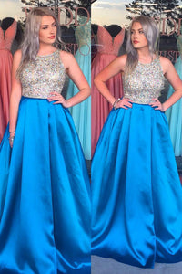 Royal Blue Satin Jewel Neck A-Line Prom Dress With Beaded Bodice