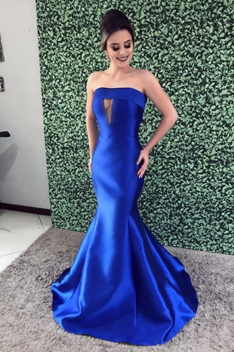 Royal Blue Key-Hole Strapless Sleeveless Long Stretch Mermaid Prom Dress with Sweep Train