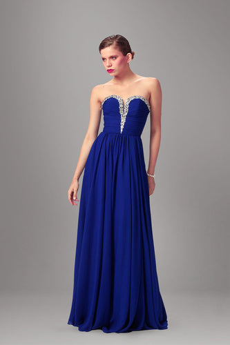 Royal Blue Sweetheart Empire Floor-Length Long Dress With Beaded Neckline