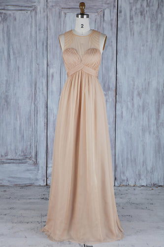 Ruched Empire Waist Jewel Neck Floor-Length Chiffon Bridesmaid Dress With Beads