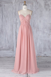 Ruched Spaghetti Strap Sweetheart Pink Chiffon Bridesmaid Dress With Lace