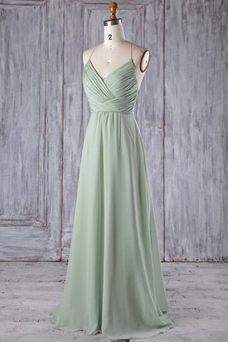 Ruched Spaghetti Strap V-Neck Mint Green Chiffon Bridesmaid Dress With Lace