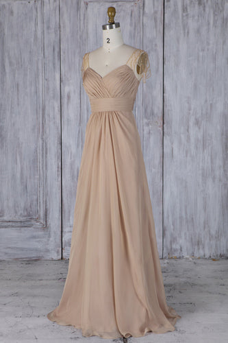 Ruched Sweetheart Cap Sleeve Empire Waist Chiffon Bridesmaid Dress With Beads