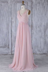 Ruched V-Neck Sweep Train Pink Chiffon Bridesmaid Dress With Beads
