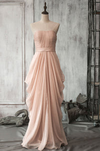 Ruffled Strapless Floor-Length Chiffon Bridesmaid Dress With Ruched Bodice