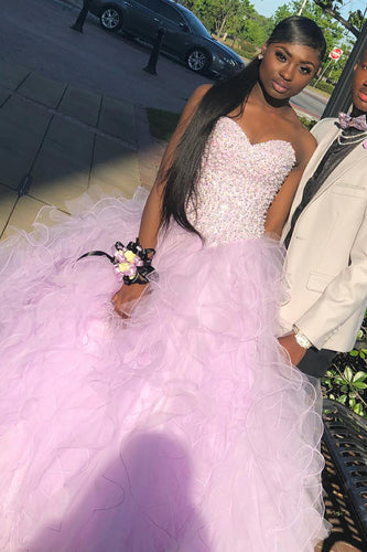 Ruffled Strapless Sweetheart Organza Ball Gown Prom Dress With Beaded Bodice