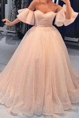 Elegant Ruffles Off Shoulder Short Sleeves Floor-Length Ball Gown Prom Dress
