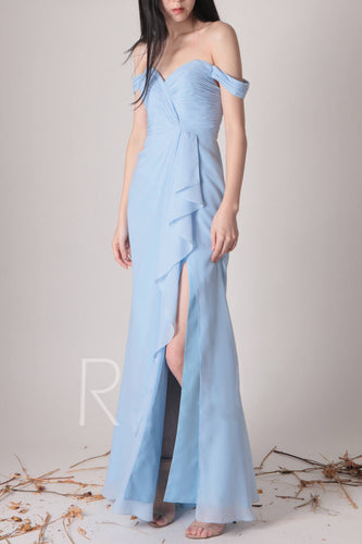 Ruffles Off-the-Shoulder Sky Blue Chiffon Floor-Length Bridesmaid Dress With Slit