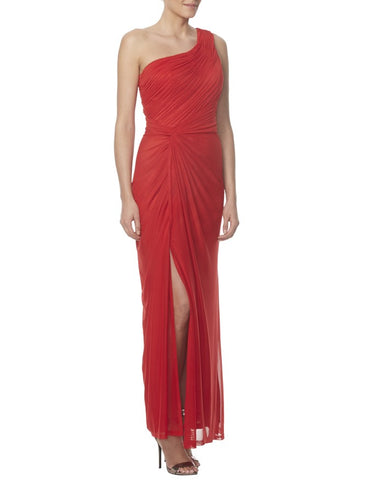 Red Chiffon Single-Shoulder Empire Ruched Side Slit Bridesmaid Dress