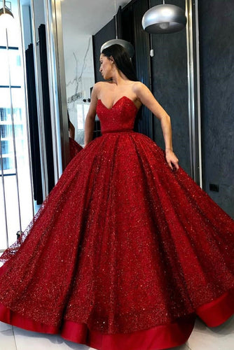 Gorgeous Sequin Lace Strapless Sleeveless Floor-Length Red Ball Gown Prom Dress