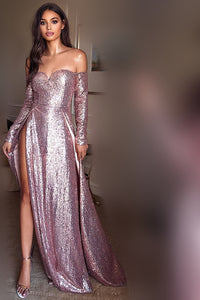 Sequin Off Shoulder Long Sleeves Long Sheath Prom Dress with Sexy High Slits