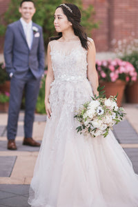 Sequinned Sheer Neck A-Line Sweep Train Tulle Bridal Dress With Sash