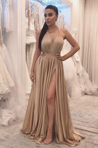 Sexy Champagne Halter A-Line Floor-Length Dress With A Cinching Belt