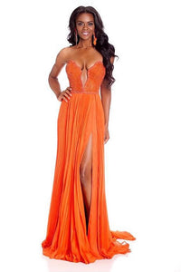 Sexy Column Chiffon Open-Back Long Dress With Sultry Neckline And Side Slit