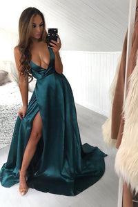 Sexy Deep V-Neck Sleeveless Long Solid Slit Satin Prom Dress with Sweep Train