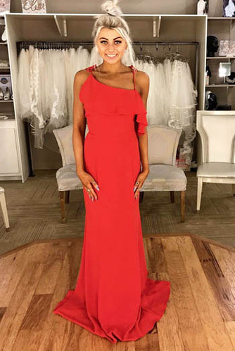 Sexy Red Spaghetti Straps Asymmetrical Neck Open Back Floor Length Evening Prom Dress
