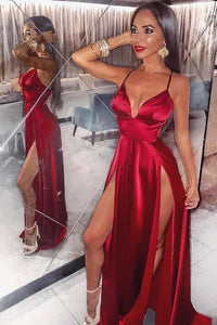 Sexy Spaghetti Straps Sleeveless Long Solid Slit Sheath Prom Dress with Sweep Train