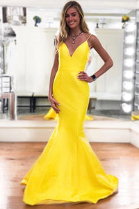 Spaghetti Straps Sleeveless Long Solid Stretch Mermaid Prom Dress with Sweep Train