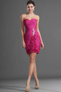 Sheath Hot Pink Sweetheart Ruched Short Dress With 3-D Floral Appliques