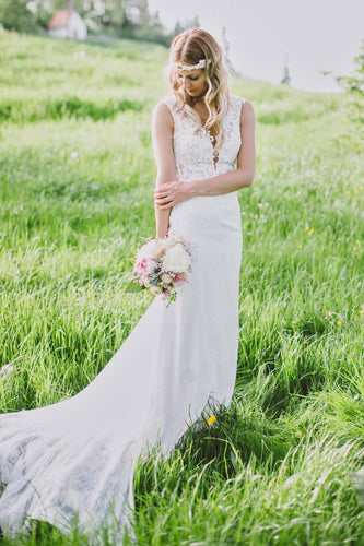 Sheath Lace Wedding Dress With A Plunging V-Neck