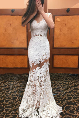 Sheath Open Back Cap Sleeve Sheer Neck Lace Illusion Wedding Dress With Sequins