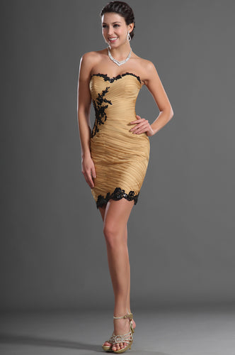 Sheath Strapless Sweetheart Short Dress With Black Appliques