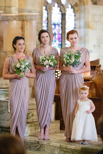Sheath V-Neck Ankle-Length Pleated Bridesmaid Dress With Waistband