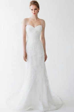 Sheer Cap Sleeves Sweetheart Neckline Backless Bridal Dress With Sweep Train