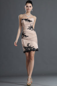 Short Champagne Sheath Dress With Straight Neckline And Black Appliques
