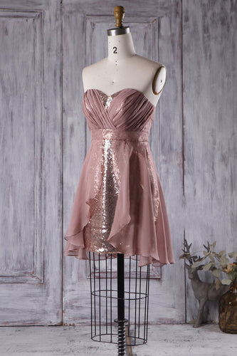 Short Sequined Chiffon Strapless Bridesmaid Dress