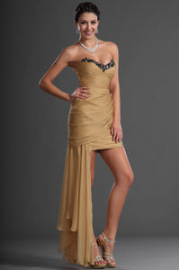 Short Sheath Ruched Dress With Beaded Sweetheart Neckline
