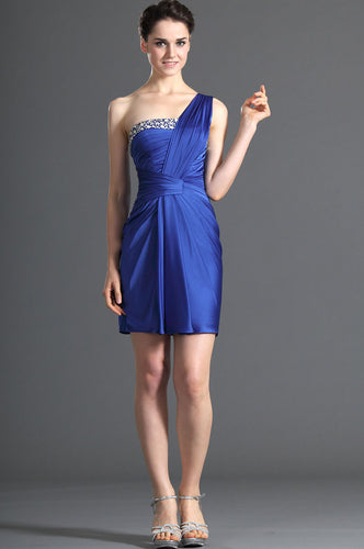 Short Single-Shoulder Beaded Satin Above-The-Knee Length Dress With Open Back