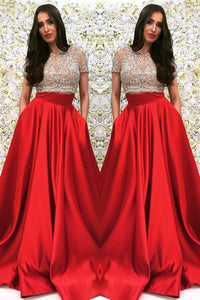 Short-Sleeved Beaded Champagne-Red Two-Piece Long Dress