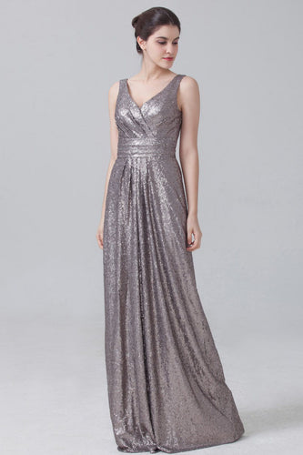Silver Fully Sequined Sparkling Empire Long Bridesmaid Dress