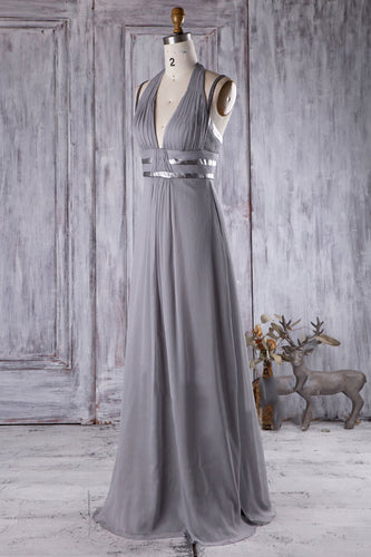 Silver Halter V-Neck A-Line Chiffon Open-Back Bridesmaid Dress