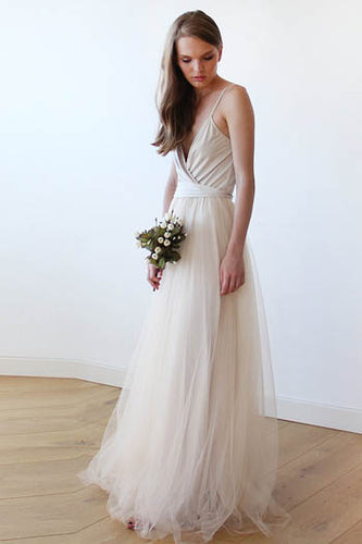 Silver Spaghetti Strap Surplice V Neckline Tulle Floor Length Bridesmaid Dress