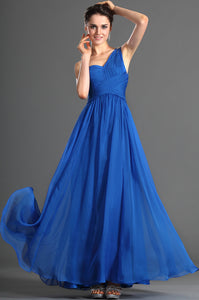 Single-Shoulder Blue Ruched Criss-Cross Empire Long Dress With Column Silhouette