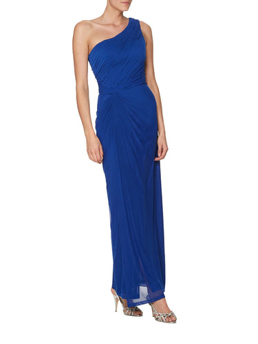 Single-Shoulder Blue Ruched Side Draped Long Bridesmaid Dress