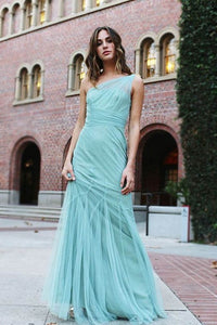 Single-Shoulder Empire Blue Satin Tulle Long Dress With Fresh Look